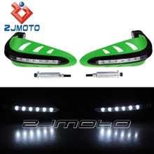 Green Motor Handguard With White LED Indiactor Lights Motorcross Hand Fuard For Dirt Bikes ATV Universal Fit Most Motorcycle