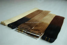 100% Russia Human Hair Weave Double Weft Stitched Remy Hair Weft Extensions