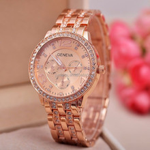 Large Stock Hot Wholesale Luxury Geneva Gold Watch Fashion Quartz Stainless Steel Wrist Watches Lady Diamond Gold Watches