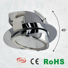 CE/RoHS/SAA approved Swiveling 45 degree recessed adjustable led downlight