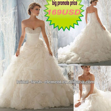 Hot Sale Long Good Quality Organza Beaded Sweetheart Ruffled Skirt Latest Wedding Gown Designs