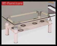 modern hot sale cheap and fine 2 layers glass coffee table