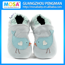 Soft Sole Cow Leather Kid Pre-Wlaker Shoes Blue Bird Pattern Size 0-4 Years