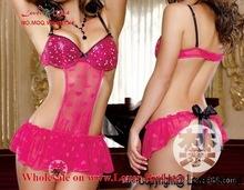 erotic lingerie hot sexy pajamas women open bra crotch stocking bodystockings net big hole sleepwear dress sexy babydoll lengeri