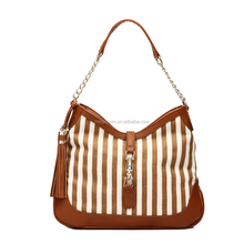 2015 Trendy PU Leather Women Hobo Bag Handbag with Stripe and Pendant Design,Cheap Wholesale Price with High Quality