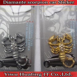 8*3cm Fashional Scorpion Sign sticker with Acryl diamond /metal decorative sticker/car sticker