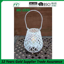 PE rattan wooden candle holder with glass tube inside ML-1334-22