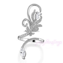 Wholesale top latest design 2015 trendy adjustable fake 18k snake ring