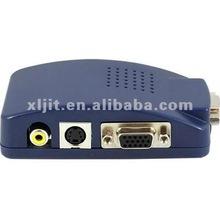 PC VGA to AV TV RCA S-Video Converter Box Adapter Dark Blue