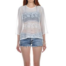 Apparel women tops summer chiffon long sleeve white lace blouse