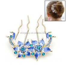 beautiful Flower Style Diamond Comb Insert for Women Ladies(Blue)