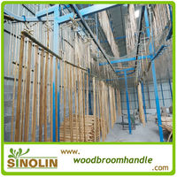 varnished wooden broom stick production line