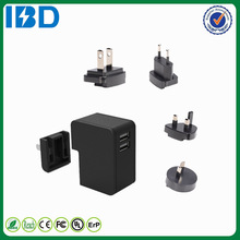 International single support QC 2.0 travel charger 9V 12 V dual usb wall charger with multi exchangeable connectors EU UK US AU