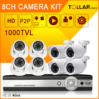 Promotion Resell 1000TVL 8CH indoor analog ahd camera nvr kit