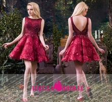 K872 Deep V Back Wine Red short Puffy Cocktail Dress With Crystals And Beadings party dress