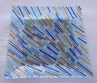40*40cm Fused Glass charger Plate with color bead for tableware