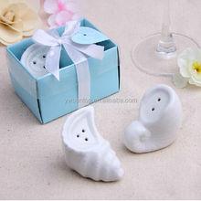 Ceramic Sea Snail Design Salt and Pepper Shakers Wedding Favors