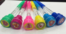 children's toy with bubbles and stamp blowing bubble pen