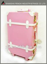 colorful PU wheeled trunk luggage trolley case
