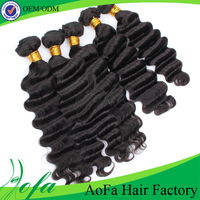 Double machine weft natural color grade 7a ocean wave virgin hair weave