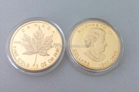 Free Sample Canadian Really Gold Plated Maple Leaf replica Coins