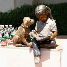 tamaño natural bronce niña con la estatua del perro