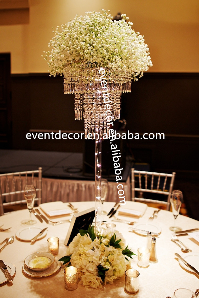 New elegant tall centerpiece with crystal pole for