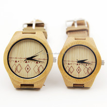 Natural bamboo Watch For Lovers Gift biyfriend girlfriend leather band
