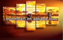 hand-painted High quality Landscape elephant paintings for home decoration
