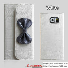 Luxury Crocodile Leather Vein Butterfly Knot Case for S4 S5 S6