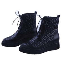 1055-3 2015 New Style Lace up shoes flat black full grain leather boots