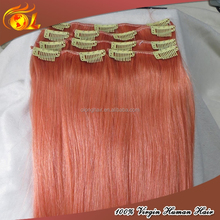 100% unprocessed Clip In on Human Hair pink clip in hair extensions australia uk