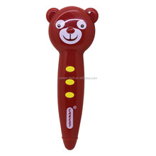 Smiling brown bear reading touch pen for kids