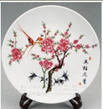 Chinese Antique Furniture Porcelain Plate with Shelf for Decoration