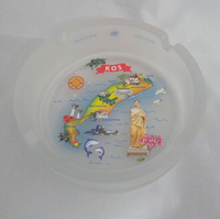 souvenir frosted glass ashtray