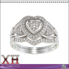 Silver Fine Ring Set Dazzling Clear CZ Wholesale Heart-Shaped Wedding Ring