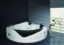 DOMO acrylic black corner whirlpool bathtub