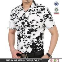 Latest custom floral short sleeves man shirts