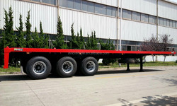 3 Axles 40ft Container Flat Deck Trailer Truck With Front Fence