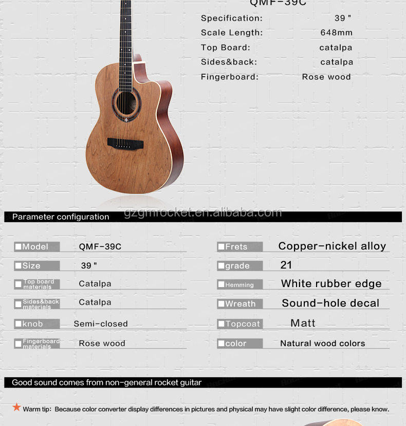 Catalpa Wood Guitars Qmf 39c n Catalpa Cutaway Guitars