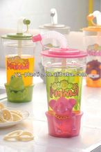 2013 hot sale Plastic Straw Cup,acrylic cups with dome lids and straws