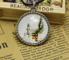 New Round House Castle and Horse Glass Dome Cabochon Long Pendant Necklaces