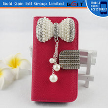 New Design Flip Case For Galaxy S4 mini Megnetic Lichee Pattern Case With Pearl Bowknot Wallet Flip Cover For Samsung I9190