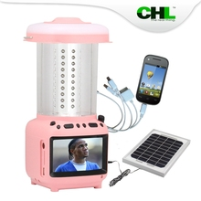 2015 new CHL Portable solar led light with TV, fm radio, mobile phone charger