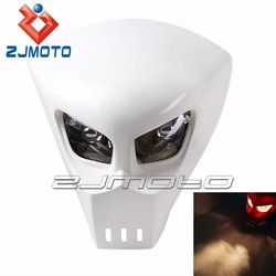 YM-021-WT White FRP skull head racing bike motorcycle projector headlight fit for DRZ dr 400 650 450 z enduro