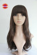 natural wave style mixed color kanekalon fiber korean artificial hair wigs with neat bangs NYSWIG-437