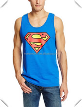 wholesale Men's Superman Classic Logo printed Tank tops ,custom sleeveless cotton superman T-Shirt for man