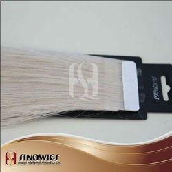 Factory wholesale price virgin cuticle hair tape weft natural drawn