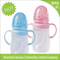 2015 New Design BPA Free 120 ml bottom price durable silicone feeding bottle, 8 oz silicone baby feeding bottle