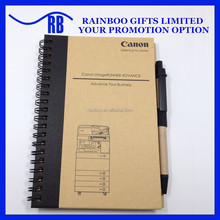 Hot selling logo printed cheap recycled cheap wire binding kraft paper notebook with pen